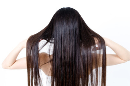 attractive asian woman with beautiful long hair